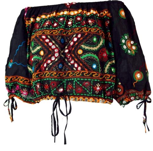 Jaren zestig blouse tuniek zwart met borduursel en spiegeltjes