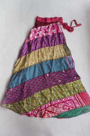 Multi print patchwork wikkelrok sari fabric design