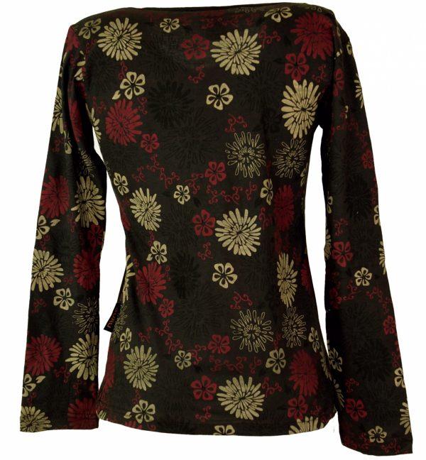 Shirt lange mouw borduursels zwart met kleurtjes bloemen
