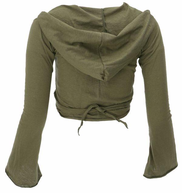 Shirt lange mouw grijsgroen met capuchon