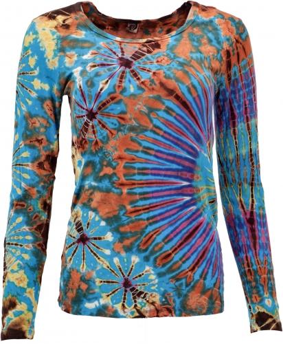 Shirt lange mouw tie dye turq blauw terra