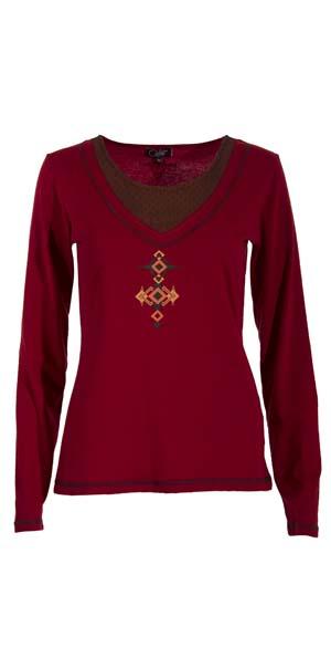 Shirt lange mouw tribel ruitprint en mooie hals deco kant bruinrood