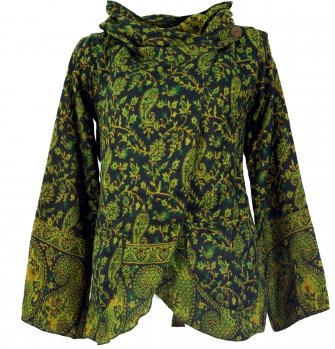 Vest mantel cape met caupuchon zwart met groen oriental print