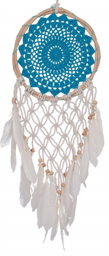 dromenvanger gehaakt veertjes turqblauw groot