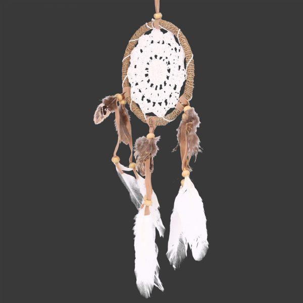 dromenvanger gehaakt wit met veertjes  cm