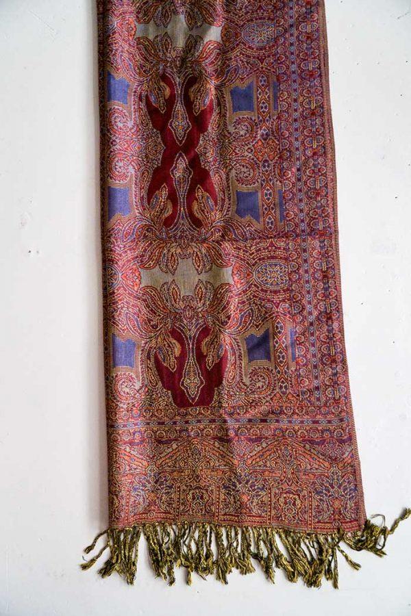 pashmina sjaal met franjes dieprood met donkerpaars