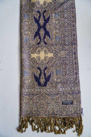 pashmina sjaal met franjes donkerblauw geelbeige