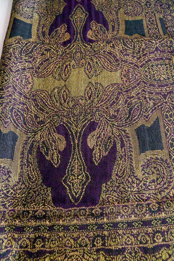 pashmina sjaal met franjes goudgeel met donker aubergine
