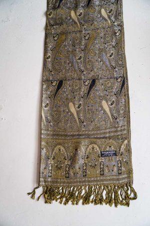 pashmina sjaal met franjes grijs zwart en beige goud paisley patroon