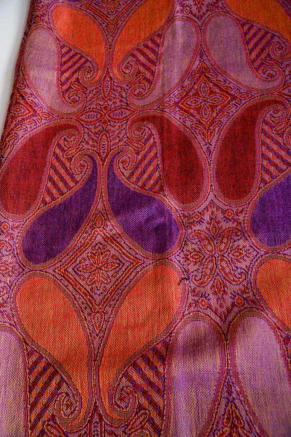pashmina sjaal met franjes rood oranje paars