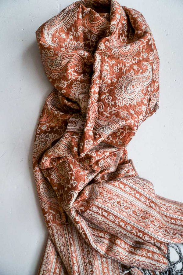 pashmina sjaal met franjes terra oranje