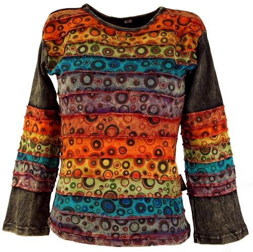 patchwork trui goa stone wash rainbow