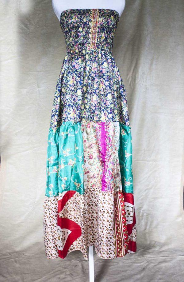 strokenrok  lagen sari emeraldgroen met rood en bloemetjes