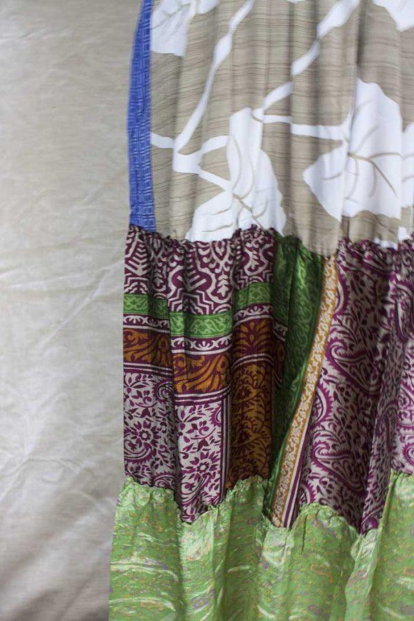 strokenrok  lagen sari lichtgroen beige roomwit