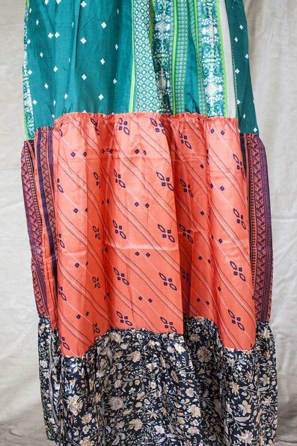 strokenrok  lagen sari petrol green met koraal en bloemetjes