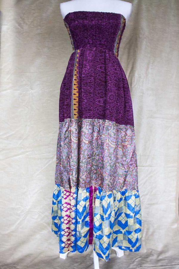 strokenrok  lagen sari rozepaars met blauw