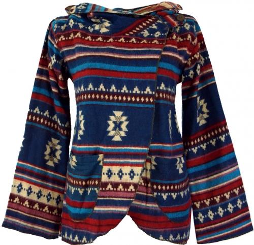 vest jas blauw tribal print met capuchon
