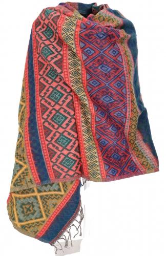 wollen sjaal koraal blauw rood geel
