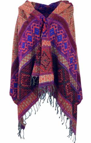 wollen sjaal koraal koraal felblauw rood