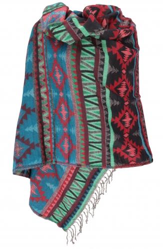 wollen sjaal koraal turqoise mint donkerrood