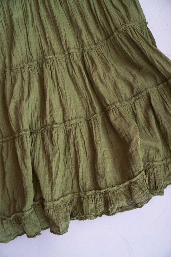 Lange strokenrok kreukelkatoen olijfgroen legergroen